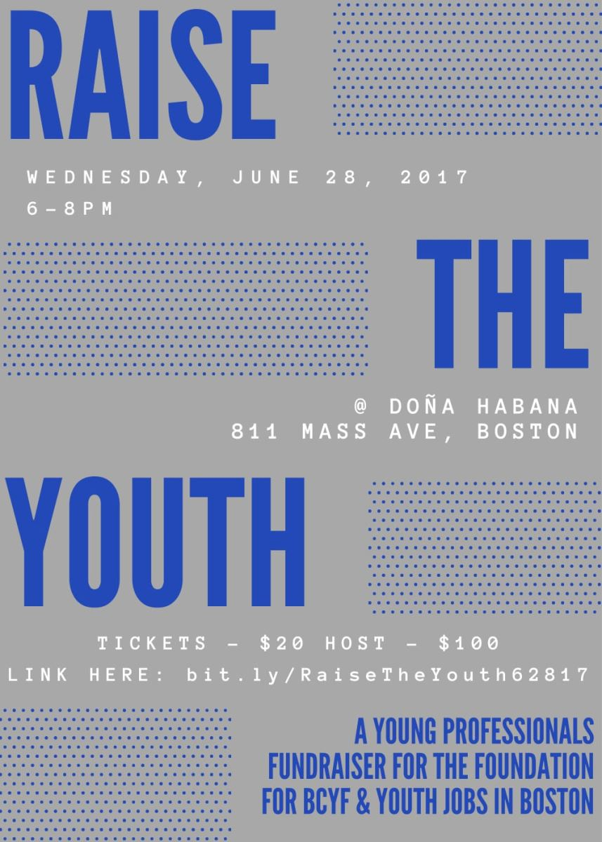 Raise the Youth Invite -- Wednesday June 29, 2017 6-8pm at Dona Habana 811 Mass Ave, tickets are $20 to host $100. Link: bit.ly/RaiseTheYouth62817